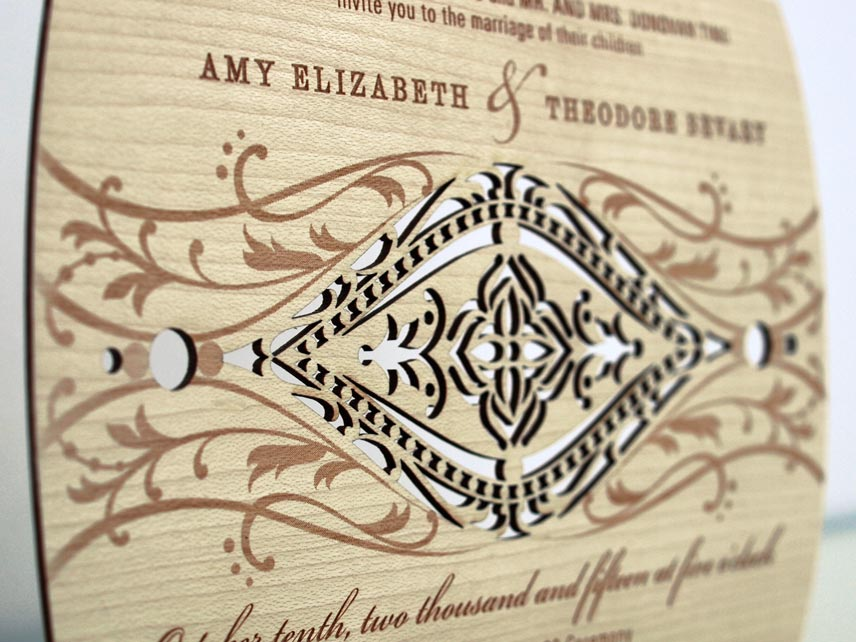 real wood wedding invitations by invite design eco friendly