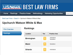 Screen Capture of Upchurch Watson White & Max's Tier 1 rankings