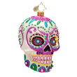 Christopher Radko La Calavera Skull Ornament in White
