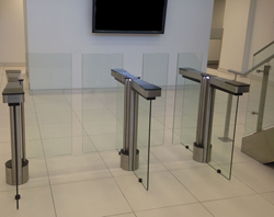 Fastlane Glassgate 300 optical turnstile for Class A building security