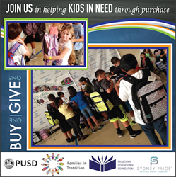 Buy One, Give One backpacks and school supplies donated by Sydney Paige Inc. to kids in need in the Pasadena community.