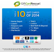 GiftCardRescue.com Announces Top 20 Gift Cards for 2014