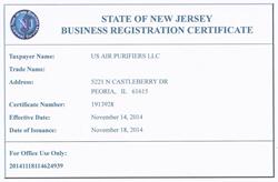 New Jersey Business Registration Certificate
