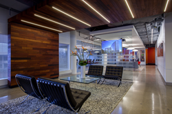 Soft seating area of HGA's office space -  this NAIOP 2014 award of excellence in the category of best interiors, tenant space 15,000 - 49,999 square feet was built by HITT Contracting Inc.