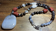Goldstone, Rose Quartz, and Agate comprise this 25 inch bead necklace at BetsytheBeader.com