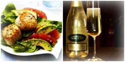 Amista sparkling wine traditional method california scallop avocado seafood holiday recipe