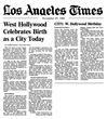 1984 LA Times Announces West Hollywood's Birth as a City