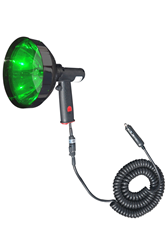 Handheld Spotlight with a Green Lens that produces a 900' beam in spotlight mode