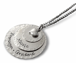 Family Stacking Charms Sterling Silver Necklace