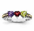 My Heart Antiqued Family Birthstone Ring