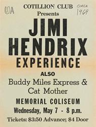 1969 Jimi Hendrix Tuscaloosa Memorial Coliseum Concert Poster