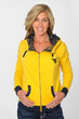 Gold hooded fleece with contrasting navy lace fabric at pocket openings and lining of the hood. Rounded puckering neck. WV logo at left chest.