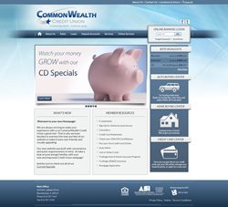 Screen shot of new CommonWealth Credit Union home page designed by LKCS.