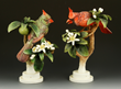 "Pair of Royal Worcester Red Cardinals, porcelain, modeled by Dorothy Doughty, tallest 10 1/2"" h."