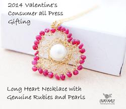 Long Crochet Heart Necklace from Inayaaz Jewelry.