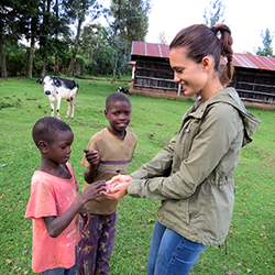 "Actress Torrey DeVitto on the set of the ""Road to Hope"" documentary."