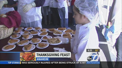 Hundreds of Orange County's' most impoverished men, women and children celebrated Thanksgiving Dinner with an army of caring volunteers