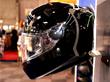 Shark Skwal LEDs lit up in gloss black at Motorcycle Live 2014