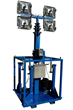 30' Light Tower that features 360° of rotation and a removable mast head for storing mounted equipment