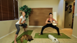 Having a blast during our SMALL DOG workout, on set, filming our DOG YOGA DVD