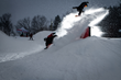 Pro snowboarder, Pat Milbery, creates a stunning backdrop for camper photographs