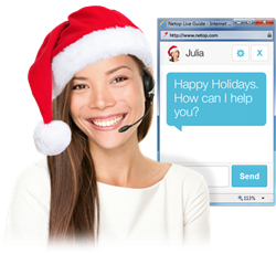 Chat operator greets customers with Happy Holidays message