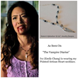 Emily C. Chang wearing Labradorite and Black Spinel Dagger Heart Necklace from Nature's Splendour.