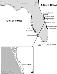 Location of the Archie Carr National Wildlife Refuge and the locations of nesting beaches in Florida where turtles were originally tagged, and then found nesting in the Archie Carr NWR during a subsequent nesting season.