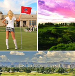 Photo shows a female golfer holding a flag, royal links golf club, and a view of the las vegas strip.
