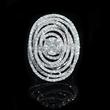 Diamond 18k White Gold Oval Shaped Swirl Ring