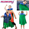 Travel neck pillow with a superhero cape down the back that can also be worn as a blanket on the front to keep cozy at home or traveling