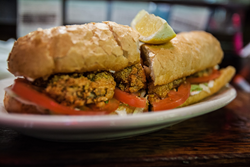A photo of an oyster po-boy
