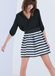 """Stripe My Fancy"" Pleated Banded Black and White Striped Skirt"