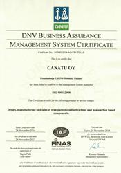 Canatu ISO 9001 Certificate