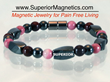 New Magnetic Bracelet with Garnet and Rhodonite by Pain Free Living