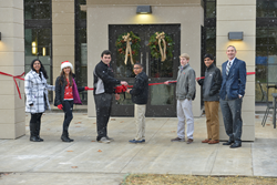 Hun School students Anchal Kannambadi, Victoria Leach, Justin Pontrella, Blake Morrisey, William Collins, Aadil Mufti, and Headmaster Jonathan Brougham cut a ceremonial ribbon to the Wilf Family Global Commons.