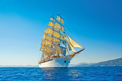 With her billowing sails, rich mahogany and gleaming brass, the legendary Sea Cloud travels under 32,000 square feet of billowing sails trimmed by hand.
