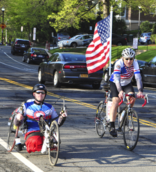 Veterans ride north from Washington D.C. at the 2014 Face of America.