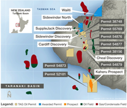 TAG Oil Taranaki Basin Map