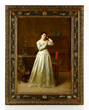 Florent Willems (Belgian, 1823-1905), elegant woman with mirror, oil on panel
