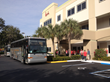 Two coach buses pulled up to transport BMI Elite staff members to Town Center mall in Boca Raton, FL