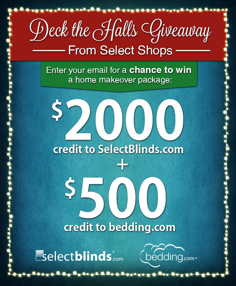 2500 home makeover holiday giveaway from select shops for New home giveaway