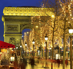 The Trimphant Arch, commissioned by Napolean, is located at the end of the avenue Champs Elysee