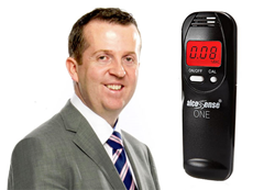 Martin Hammond and an AlcoSense One Breathalyser