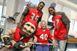 Players Tandy and Glaud visit patients on the Rehabilitation Unit at Florida Hospital Tampa