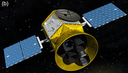 "Detail from Figure 4 in ""Transiting Exoplanet Survey Satellite,"" Ricker et al., one of the new journal's first articles, shows an artist's conception of the TESS spacecraft and payload."