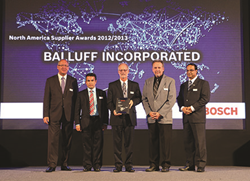 Balluff awarded North American Supplier Award from Bosch.