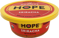 Hope Foods Organic Sriracha Hummus featuring Hope's new packaging.