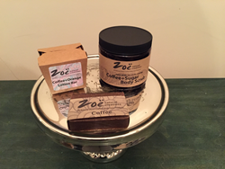 Coffee Trio, including Coffee and Orange Butter Lotion Bar, Coffee+Sugar Exfoliating Scrub, Coffee Bar Soap.