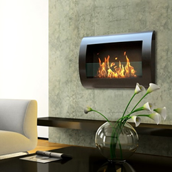 Chelsea Indoor Wall Mounted Fireplace in Black 90202 from Anywhere Fireplace